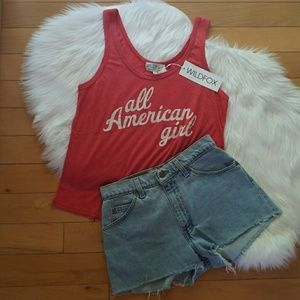 Wildfox Red All American Girl Road Trip tank M